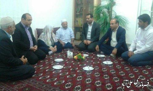 دیدار فرماندارعلی آباد کتول  با خانواده های شهدای ترکمن