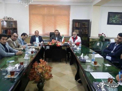 جلسه کمک به زلزله زدگان باحضور فرماندار علی آباد کتول برگزارشد