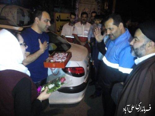 استقبال فرمانداراز اولین مسافران نوروزی به شهر ستان علی آباد کتول