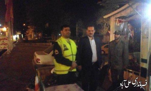 بازدید شبانه فرماندار علی آباد کتول از محل اسکان مسافرین نوروزی