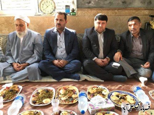 حضور فرماندار علی آباد کتول در مراسم مولودی خوانی روستای بدارق نوری