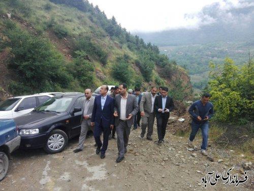 بازدید از جاده رانشی روستای میان رستاق شهرستان علی آبادکتول