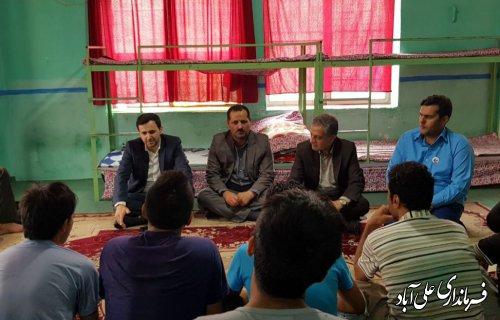 بازدید معاون سیاسی، امنیتی و اجتماعی استانداری و فرماندار شهرستان علی آبادکتول از کمپ خورشید تابان