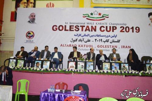 اهداء مدال ها در اختتامیه نخستین دوره مسابقات بین المللی کاراته گلستان در شهرستان علی آبادکتول