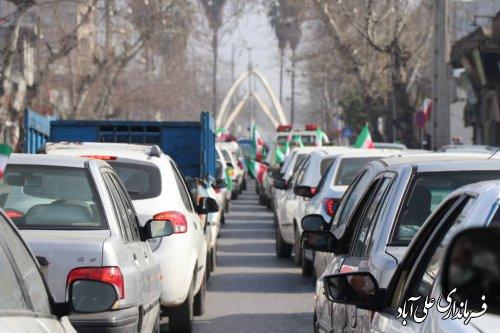 حضور خودرویی شهروندان و مردم ولایی علی آباد کتول در تجدید میثاق با انقلاب در 22 بهمن