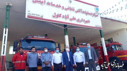 حضور فرماندار در ایستگاههای آتشنشانی شهرستان علی آباد کتول