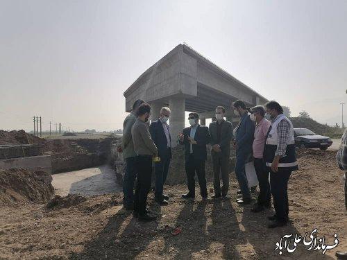 بازدید فرماندار از آخرین وضعیت تقاطع غیر همسطح محور فاضل آباد به علی آبادکتول