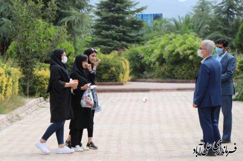 بازدید مجتبی جمالی فرماندار از محل برگزاری کنکور ۱۴۰۰ در علی آبادکتول