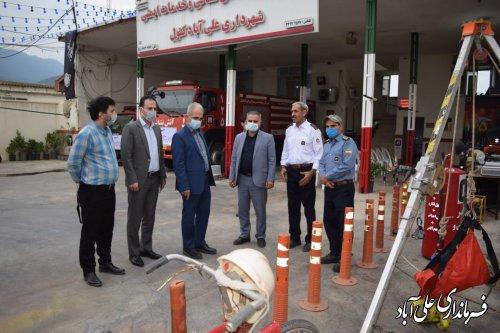 بازدید فرماندار از ایستگاههای  آتش نشانی شهرداری علی آبادکتول و فاضل آباد
