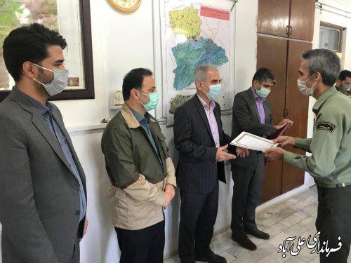 از جنگلبانان فعال در اطفائ آتش سوزیهای اخیر شهرستان علی آبادکتول ودرازنوی کردکوی تقدیر شد ؛